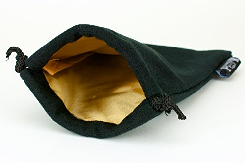 Velvet Dice Bag 5x8 Inch | High Quality Deluxe Double Stitched Seam | Snag Proof Satin Lining | Holds Over 110 Dice | Gold Interior With Black Exterior | Super Sturdy | Lifetime Guarantee - 1