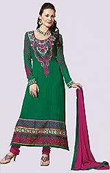 Bottle Green and Rani Pink Semi Stitched Dress