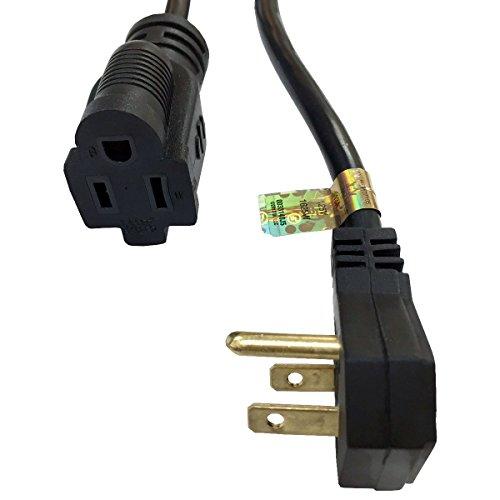 flat plug power extension cord black length 15ft 125v 3 prong 16awg 13 amp. Black Bedroom Furniture Sets. Home Design Ideas