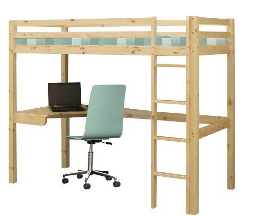 Hochbett Etagenbett aus Holz inkl. Schreibtisch und Lattenrost 200x90 cm