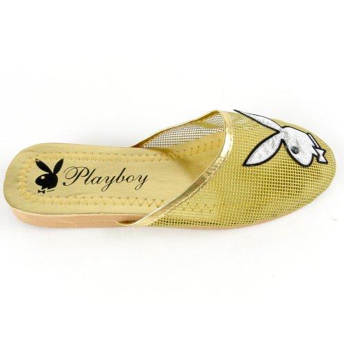 Cheap Women's Playboy Bunny Mesh Slipper Sandals Gold , 5-10 (B007O45P4G)