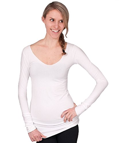 Hard Tail Long Skinny Sexy V-neck Tee (XS, White)