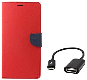 Tidel Premium Table Talk Fancy Diary Wallet Flip Cover Case for HTC Desire 526G/526G+ (Red) With Micro OTG Cable