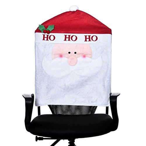 1PC Christmas Santa Claus Chair Covers, SUPPION Xmas Dinner Chair Cap Hat Decor-22.44