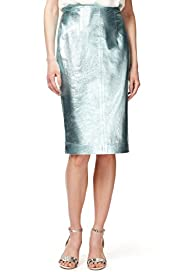 Autograph Leather Metallic Effect Pencil Skirt