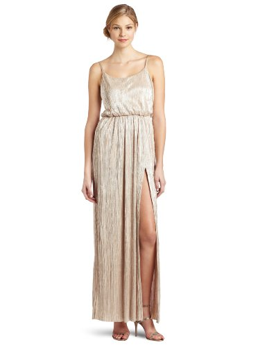 BCBGeneration Women's High Slit Maxi Dress, Gold, Large