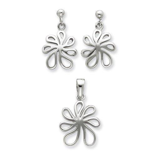 Sterling Silver Floral Earring & Pendant Set