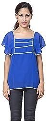Izna Women's Slim Fit Top (IDWT108BL-X-Large, Blue, X-Large)