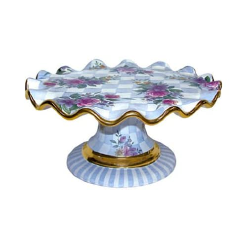 MacKenzie Childs Honeymoon Fluted Cake Stand Blue