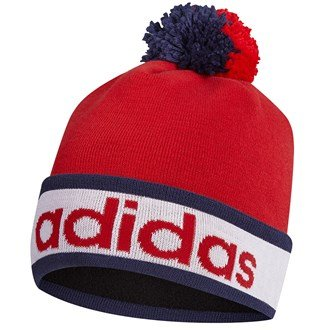 Adidas Golf 2015Da uomo ClimaHeat POM BEANIE Inverno Wooly Cappello, Uomo, Red, Taglia unica