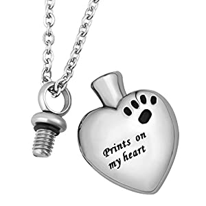 LuckyJewelry Pet Memorial Dog Cat Paw on My Heart Cremation Urn Necklace Stainless Steel Ash Keepsake Pendant