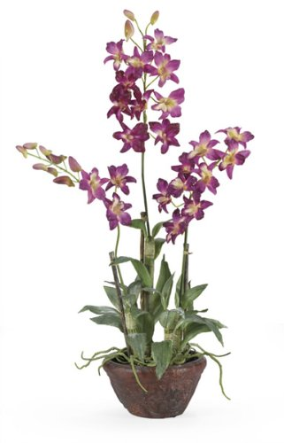 Dendrobium Silk Flower Arrangement w/ Clay Pot – Purple