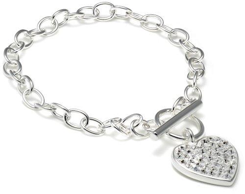 Silver Crystalique Heart Bel Cher T+Bar Bracelet 7.5