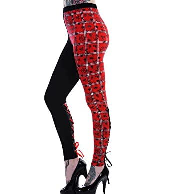 BANNED Punk Goth Black LEGGINGS Rockabilly RED TARTAN Lace Corset S 8