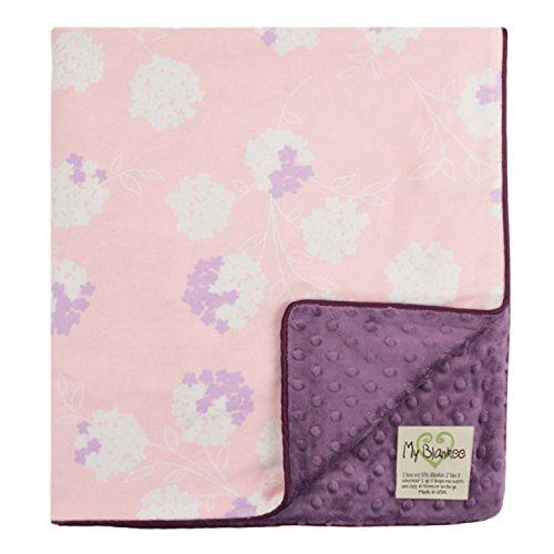 "My Blankee Garden Organic Cotton Pastel w/ Minky Dot Violet Baby Blanket, 30"" X 35"""
