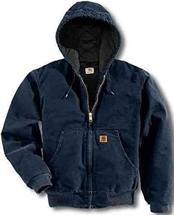 Carhartt Men's Tall Quilted Flannel Lined Sandstone Active Jacket, Midnight, Large/Tall