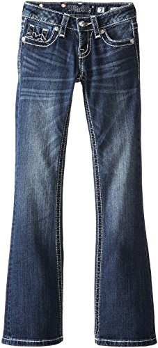 Miss Me Big Girls' Bootcut Jean With M Flat Pocket, Dark Blue, 12 front-548318