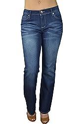 Alfa Global Women's Regular to Plus Size Boot Cut Stretch Denim Washed Pants