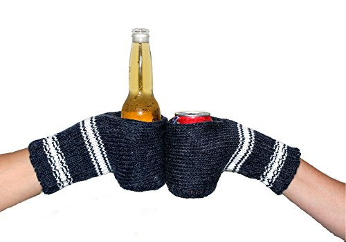 Boozy Kuzy Beer Gloves - Knit Beer Mitt (Twin Pack) Cold Drink & Beer Cozy Glove: Blue/White