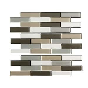 Aspect A55-74 Peel and Stick Backsplash Subway Rustic Glass Tile for