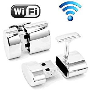 Polished Silver Oval WIFI and 2GB USB Cufflinks