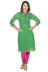 Amour Green CHANDERI Straight Plain Kurti For Women_S