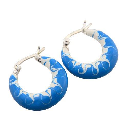 3.95g Blue White Enamel Paint Genuine 925 Sterling Silver Hook Fancy Earring