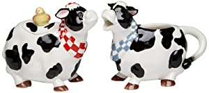 Appletree Design Barn Yard Cow Sugar and Creamer Set, 4-3 8-Inch, 4-1 2-Inch by Appletree Design