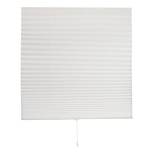 Luxr Blinds Pleated Fabric Shades with Easy Pull Chord Operation: Quick Fix Installation Light Filtering Blinds- White, 1 Pack, 36