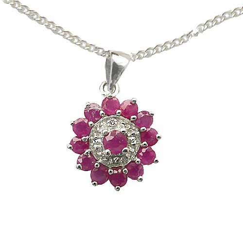 NEW 925 Sterling Silver Real Ruby and Diamond Star Cluster Pendant PLUS a 41cm-16