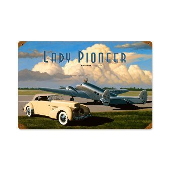 Past Time Signs Stk077 Lady Pioneer Automotive Vintage Metal Sign