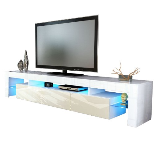 TV Stand Unit Lima V2 in White / Cream High Gloss Black Friday & Cyber Monday 2014