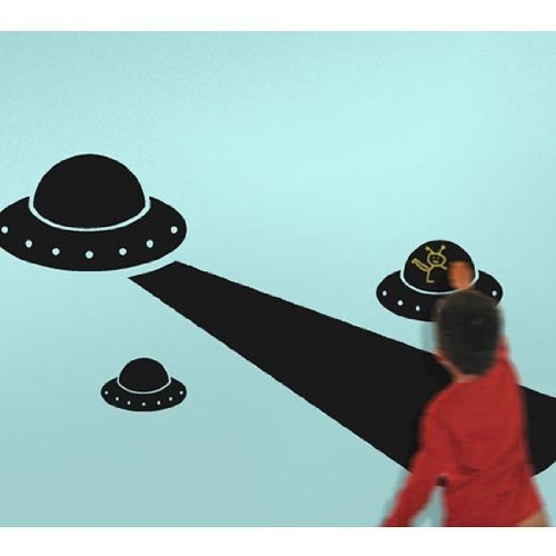 Alien Space Invasion Chalkboard Wall Stickers