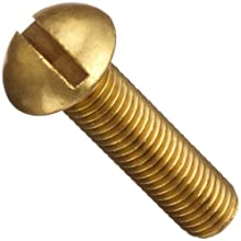 Brass Machine Screw, Inch, Round Head, Slotted Drive, Plain Finish, Right Hand Threads