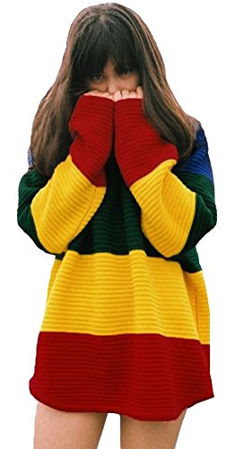 Contrast Rainbow Color Block Pullover Sweater Jumper a Tunica Estate Vestito Abito Top Superiore Giallo