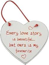 """Heartwarmers - Souvenir a forma di cuore, in legno, """"Every Love Story"""", colore: Panna"""