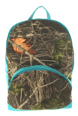 Camouflage Print Soft Canvas Large Backpack Blue Trim Camo