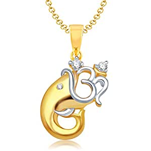 VK Jewels Om Vakratund Gold and Rhodium Plated Alloy God Pendant for Men & Women made with Cubic Zirconia  -  P1128G [VKP1128G]