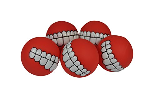 Smile Squeaker Balls, 5 Pack, by Downtown Pet Supply