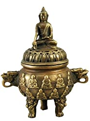 Chinese Handmade Buddha Statue Copper Incense Burner