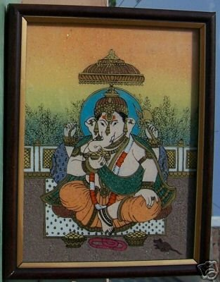 A Ganpati Ganesha Painting, Eating laddu, Home Decor
