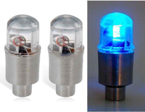 008 Blue Light Flashing Led Tire Light 2Pc Set (Silver)