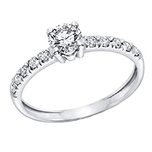GIA Certified 14k white-gold Round Cut Diamond Engagement Ring (0.61 cttw, D Color, VVS2 Clarity)