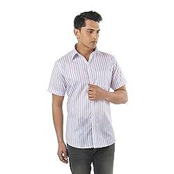 ZIDO Purple Blended Men's Striped Shirts PCFLXHS1300_Purple_38