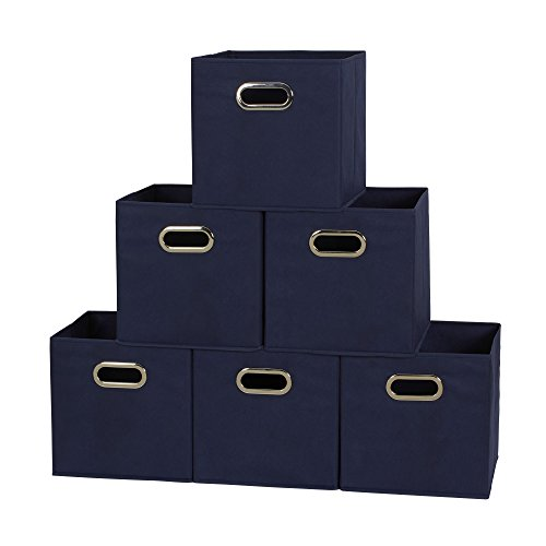 Household Essentials 6 Piece Fabric Storage Cube Bins with Handles Set, Navy Blue (Household Essentials Bin Blue compare prices)