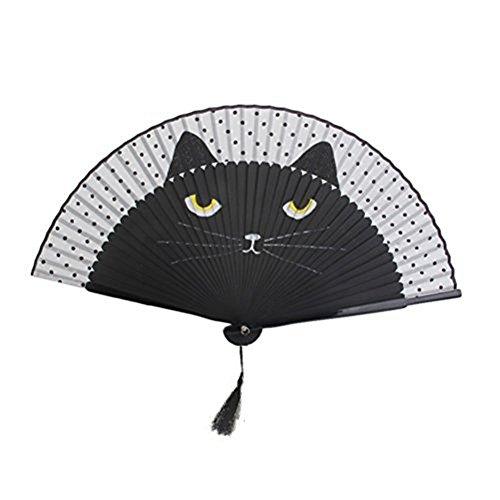 Women Cartoon Cat Folding Silk Fan Jepanese Girls' Handheld Fan (Black)