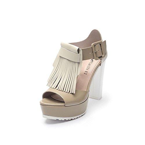Tipe e Tacchi / sandali con tacco donna colore nocciola/bianco-frangia pelle capra beige