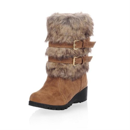 Charm Foot Fashion Faux-fur Womens Low Heel High Top Snow Boots