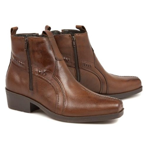 wide fit leather cowboy ankle boots with cuban heel