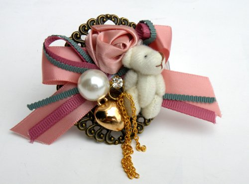 Gorgeous Fashion Lady Hair Clip On Style Pin Broch Ornamanet, w/Bear Flower & Pearl Metallic ,Beautiful Design ,2.5